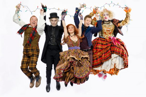 Ross-Petty-Productions-A-CHRISTMAS-CAROL-Eddie-Glen-as-Cratchit-Cyrus-Lane-as-Scrooge-AJ-Bridel-as-Jane-Kyle-Gol